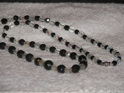 Beautiful Vintage Black and Clear Crystal Glass Bead Necklace Crystal Glass Bead Necklace