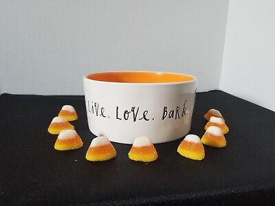 NEW RAE DUNN LIVE LOVE BARK DOG FOOD WATER BOWL ORANGE FALL HALLOWEEN IVORY
