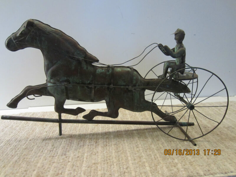 "OLD COPPER ""SULKY DRIVER & HORSE"" WEATHERVANE"