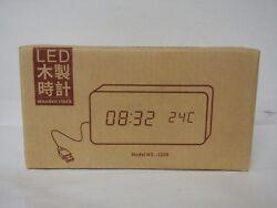 Office Desk Clock FiBiSonic Black Wooden Clock White LED Digital Voice/Touch
