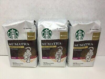 Starbucks Sumatra Dark Roast Ground Coffee, 3 bags, 12oz, 06/2020