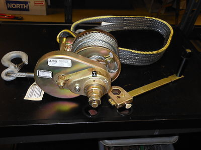 THERN M4312PB Hand Winch, Spur Gear, w/Brake, 2000 lb w/ Cable and Strap