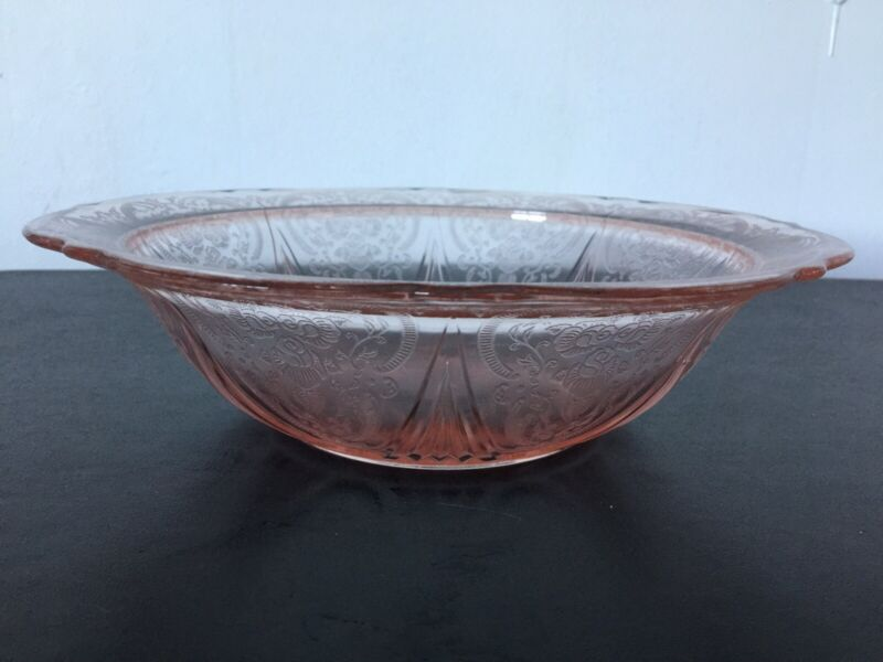 "Hazel Atlas Depression Glass Royal Lace Pink 10"" Round Serving Bowl"