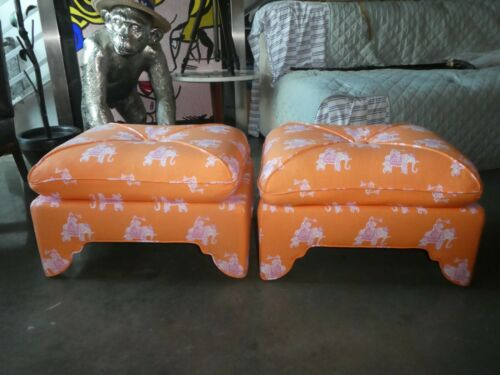 CHIC PALM BEACH STYLE LILLY PULITZER / LEE JOFFA BAZAAR FABRIC COVERED OTTOMANS