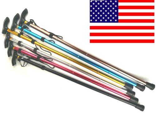 Aluminum Walking Stick Metal Cane Adjustable Folding Collapsible Travel Hiking