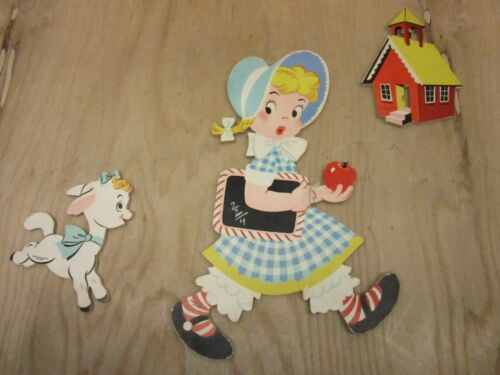 Mary Had a Little Lamb Mother Goose Pin-Ups Dolly Toy Co Nursery Plaques 1950s