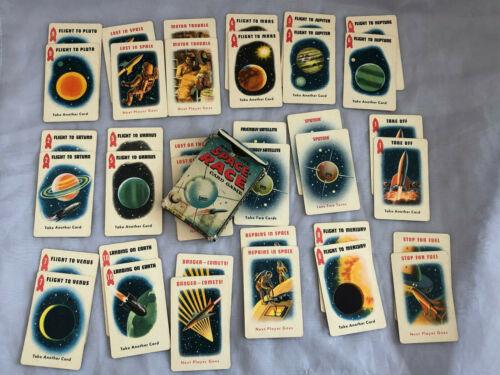 VINTAGE Satellite Space Race Card Game Ed-U Cards 1957 Mid Century Atomic Age