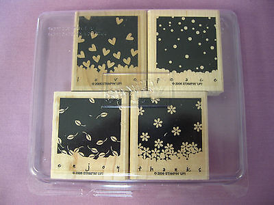 """STAMPIN' UP! """"GENTLY FALLING"""" SET OF 4 STAMPS IN CASE, USA, NEW"""