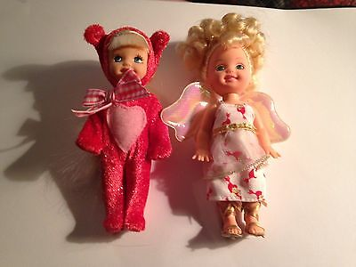 2001 BARBIE LITTLE KELLY CUPID VALENTINE DOLL AND TEDDY BEAR DOLL LOT OF 2