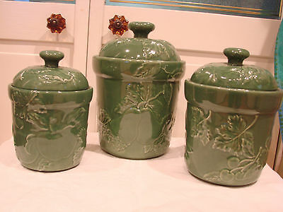 3 PIECE GREEN CERAMIC CANISTER SET w/ EMBOSSED FRUIT & LEAVES - IMMACULATE!