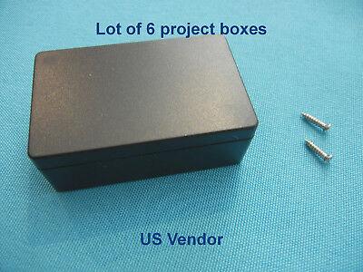 Plastic Project Box Enclosure Diy Case Black 55x35x20mm With Screws Lot Of 6