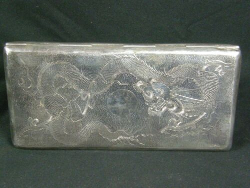 Antique Sterling Silver Dragons Chinese Export Large Cigarette Case Signed