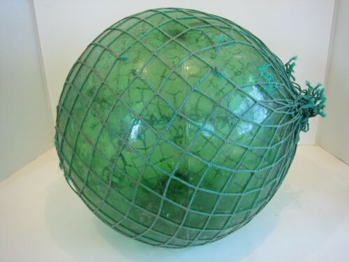 Antique Hand Blown Green Glass Japanese Fish Net Float 37 Inch Circumference