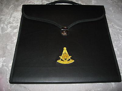 Black Past Master Masonic Apron Case Freemason Lock Lodge Jewels NEW!