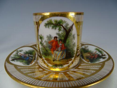 Richard Klemm Antique German Porcelain Demi Cup Saucer Watteau Inspired