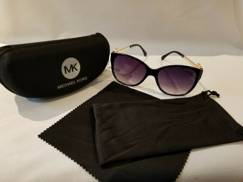 Michael Kors Polarized Womens Sunglasses UV400  BLACK/GOLD with Case and Cloth