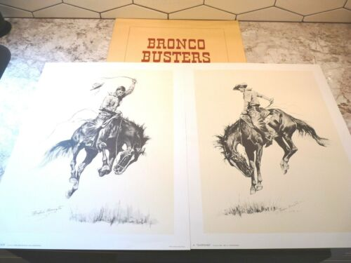 Frederic Remington BRONCO BUSTERS Prints (2) in Folio Sunfisher Running Bucker