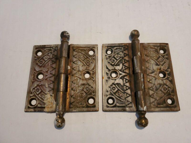 Pair Of 2 Eastlake Brass Door Hinges Geometric Pattern Design Heavy Duty Metal
