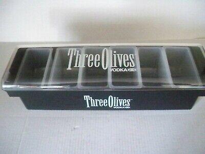 Three Olives 6 Compartment Bar Caddy Condiment Holder Dispenser Nib