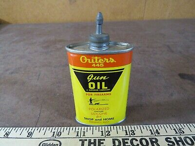 Vintage Outers 445 Gun Cleaning firearm Oil can Lead top advertising hunting