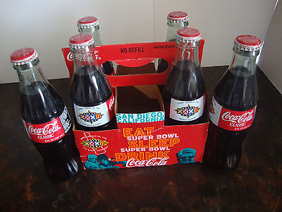 (Super Bowl XXXII---Coca-Cola---6-Pack With Carton---8 Oz. Bottles---All Full)