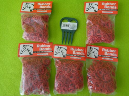 5 Packs 500~2500 RED Elactic Rubber Band MANE~Tail Braid Braiding BANDS & COMB