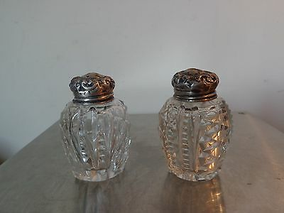 Antique Cut Crystal Salt and Pepper Shakers, Sterling Silver Tops