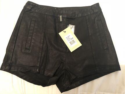 Brand new faux leather Bardot mini shorts