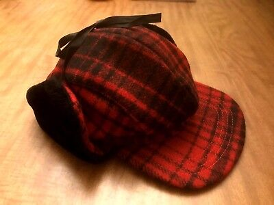 Vintage Outdoorsman Wool Buffalo Plaid Ear Flap Fur trimmed Cap Hat Men's Med US Plaid Hat Earflap