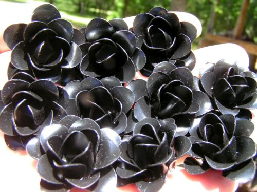 10 BLACK Roses, metal flowers for crafts, jewelry, embellishments, accents