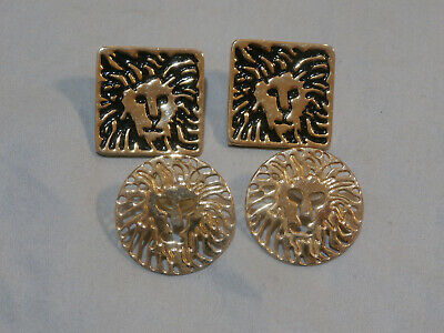 Vintage Anne Klein Signature Lion Head Earrings Lot of 2 Gold Tone Black Enamel