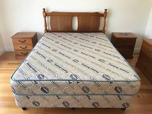 Queen size bed with bedside table and dresser Melbourne CBD Melbourne City Preview
