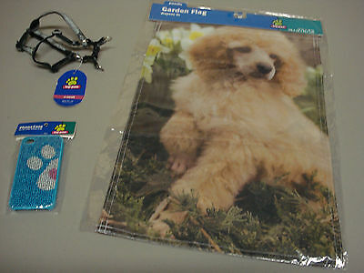 New Poodle Dog 3 Piece Lot Garden Flag X-Small Adjustable Harness Phone Case #47