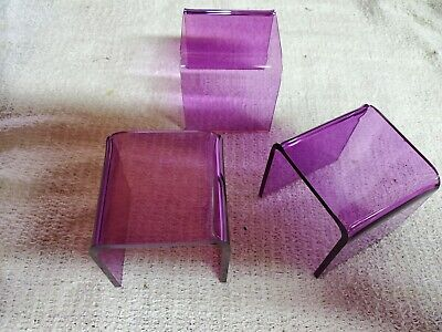 Acrylic Riser Display Stands 3 Pcs Set Purple Color Free Shipping
