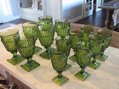 Vintage (6) 9 oz. & (7) 4 oz. Green Glasses  Indiana Glass Co, Mt Vernon Pattern