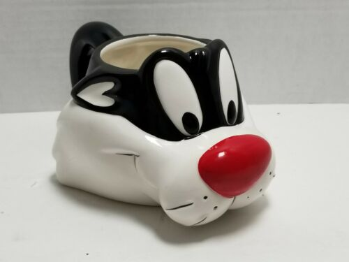 Looney Tunes Sylvester Cat Mug Coffee 1989 Warner Bros Ceramic 3D Vintage