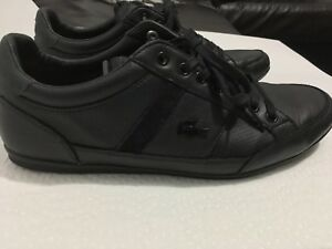LACOSTE BLACK Leather Sneaker Noir