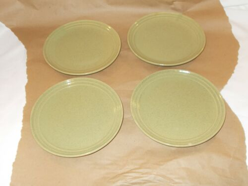 "Monmouth Pottery Western Stoneware green speckled 7.5"" salad plates"