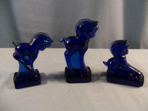 3 Imperial Cobalt Blue Glass Horse Pony Colt Figurines Kicking Standing Balking