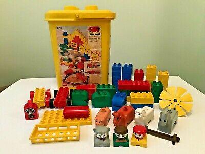 Vintage Lego Duplo Yellow Bucket Set 2391 Animals People 56pc