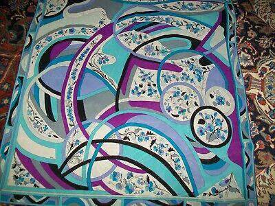 EMILIO PUCCI vintage large silk graphic floral scarf white blues purples black