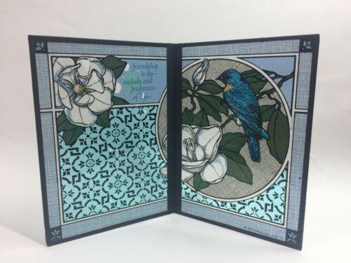 Vintage Stained Glass Seriglass Panel by Yorkraft Inc Friendship Poem BLUEBIRD