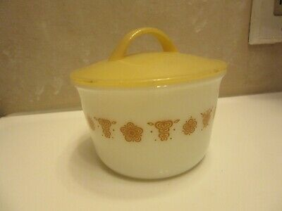 Pyrex Corning Butterfly Gold Pattern Sugar Bowl #25 w/ plastic gold lid w/handle