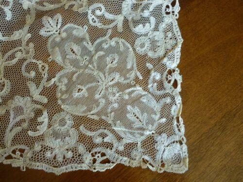 "Antique ECRU Brussels Bobbin ? Duchesse Lace Handmade Runner 58"" x 23"""