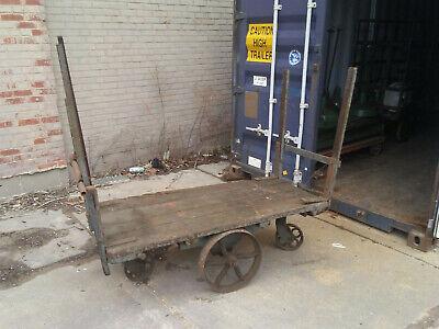 Large Vintage Factory Cart Wood Industrial Antique Wood Iron Push Bar 62