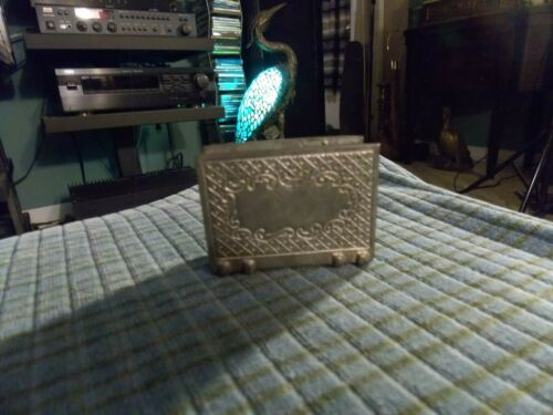 VINTAGE Les Potstainiers FINSTAIN PEWTER Business Card Holder Belgian Made VG !