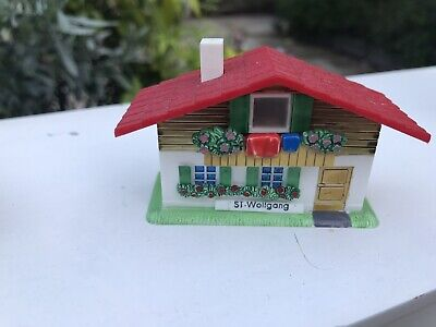 Vintage Kitsch Swiss Chalet Ski Plastic Ornament