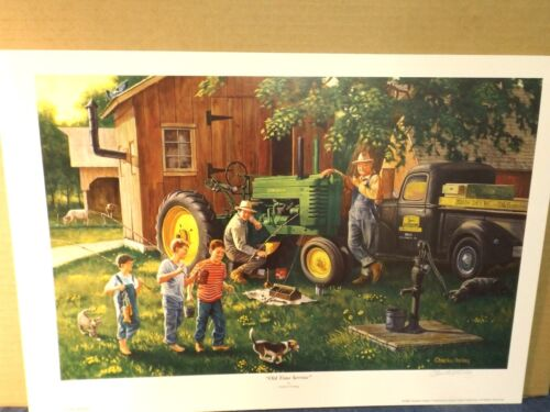 JOHN DEERE ART by CHARLES FREITAG - OLD TIME SERVICE - MODEL G - PRINT ONLY