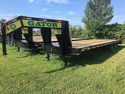 Flatbed Gooseneck 10 Ton Deckover Hd Equipment Trailer 30ft Flat Bed 24.9k Gvwr