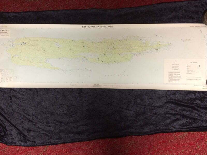 Vintage 1987 Isle of Royale Topographic Map 1:62 500 scale